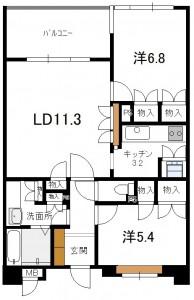 長坂ネスル211号室間取り